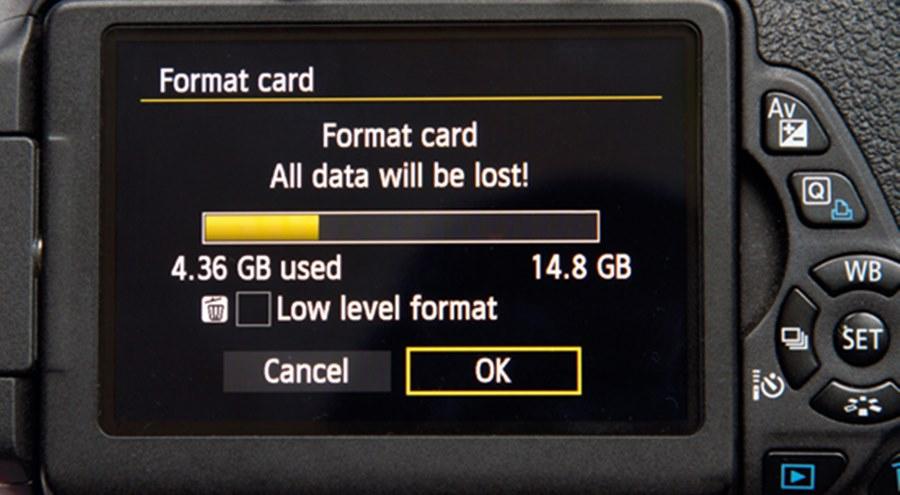 hafıza kartı formatlamak - canon dslr